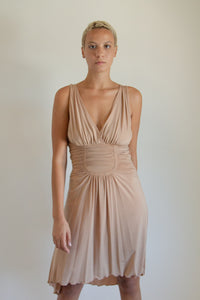 Y2K tan ruched dress // M (348)