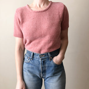 Vintage dusty pink chenille short sleeve sweater  //  S  (865)