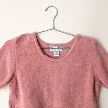 Load image into Gallery viewer, Vintage dusty pink chenille short sleeve sweater  //  S  (865)