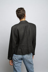 Vintage black linen double-breasted jacket // M (1020)