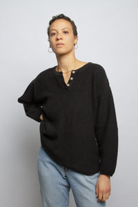 Vintage black cotton henley oversized sweater // M (1058)