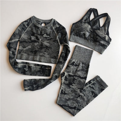 3PCS Camo Seamless Yoga Set Sports Wear  Women Fitness Clothing Yoga Leggings+Sport Bra+Long Sleeve Crop Top Gym Sports Suits