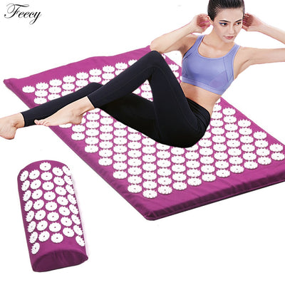 Acupressure Massager Mat Set Back Body Foot Cushion Massage Pad Relieve Stress Pain Shakti Acupuntura Yoga Spike Mat with Pillow