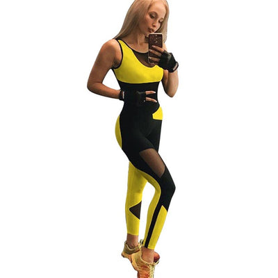 SALSPOR Women Sexy Fitness Yoga Suit Mesh Patchwork Backless Sports Jumpsuit Gym Training Clothes Female Ensemble Sport Wear