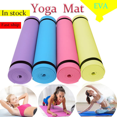Non-slip Yoga Mats EVA Exercise Pads For Fitness Gym Train Sports Tasteless Pilates Carpet with Bandages Picnic Camping Straps