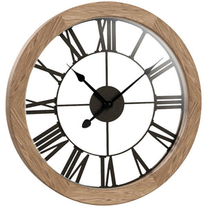Westclox Round Wood Wall Clock