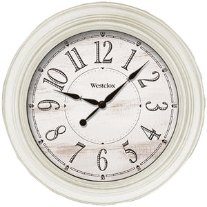 Westclox 20-inch Antique White Farmhouse Wall Clock