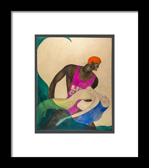 Open image in slideshow, Life Guard and the Mermaid - Framed Print