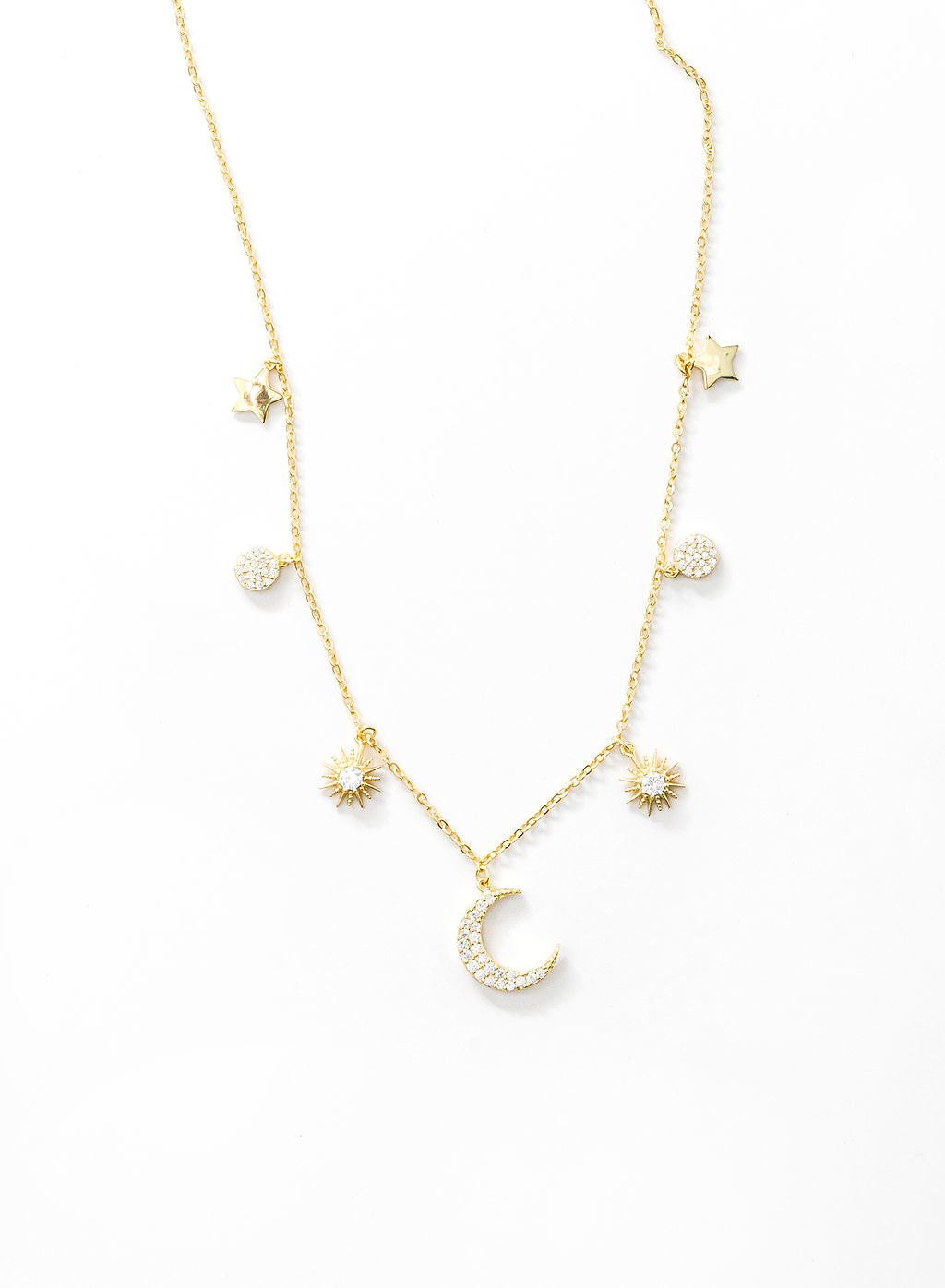 Multi Charm Moon Neck -GOLD