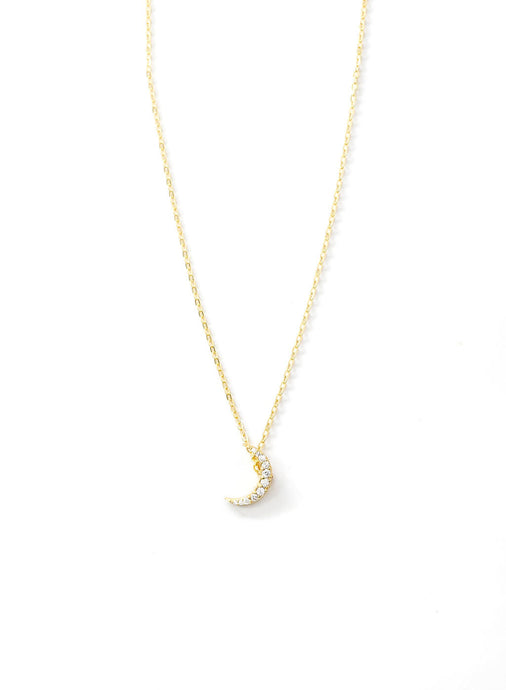 Gold Pave Moon Necklace