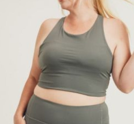 Curvy! Racerback Crop Top - Gunmetal