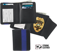 STRONG LEATHER Blue Line Deluxe Hidden Badge Wallet