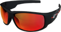 Edge Eyewear Legends Strike Team Glasses, Matte Black & Red Frame/Black Aqua Precision Lens