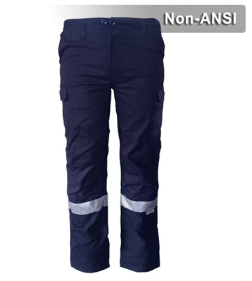 Work Safety Pants: Navy 100% Cotton Cargo Pants: Reflective