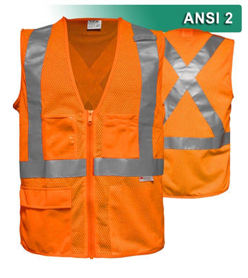 Safety Vest: Clear ID Pocket: 5pt Breakaway: X-Back