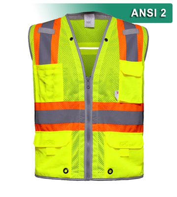 Multi-Pocket Safety Vest: Hi-Vis Mesh Vest: Surveyor: Contrasting Trim
