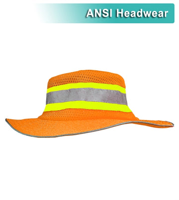 Safety Hat: Hi Vis Orange or Lime Ranger Style Hat: ANSI HW: Contrasting Trim