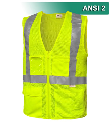 Safety Vest: Hi Vis Vest: Clear ID Pocket: 5pt Breakaway