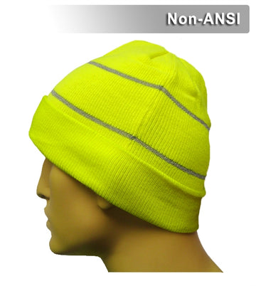 Safety Beanie: Hi Vis Cuffed Knit Cap: Retroreflective Thread