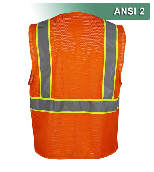 Economy Safety Vest: Hi Vis Lime or Orange Vest: Zip Mesh Contrasting Tape: ANSI 2