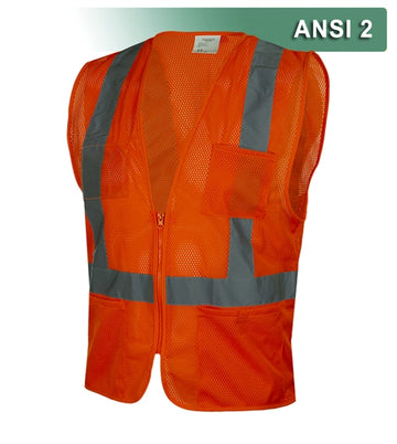 Safety Vest: Hi Vis Vest: Clear ID Pocket: Orange Zip Mesh