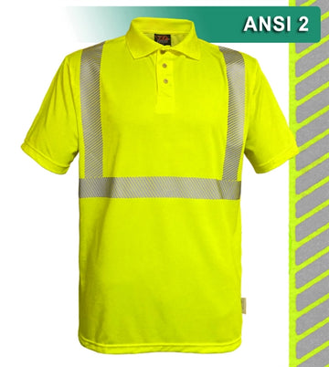 Safety Polo: Hi Vis Polo Shirt: Lime or Orange Birdseye: Comfort Trim by 3M™