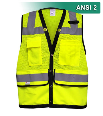 Multi-Pocket Safety Vest: Hi-Vis Mesh Vest: Surveyor
