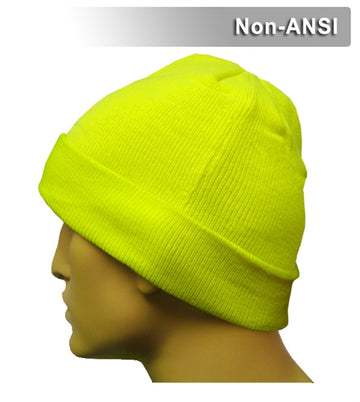 Safety Beanie: Hi Vis Lime Cuffed Knit Cap