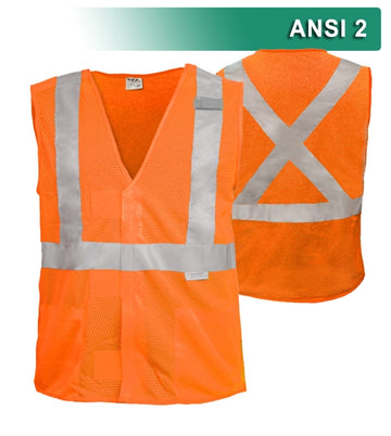 Safety Vest: Hi Vis Vest: X-Back Orange or Lime: 5pt Breakaway Mesh: ANSI 2