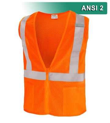 Safety Vest: Hi Vis Vest: Lime or Orange: Zippered Mesh: ANSI 2