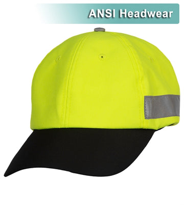 Safety Baseball Hat: Hi Vis Lime & Black Cap: Adjustable Cotton Sweatband