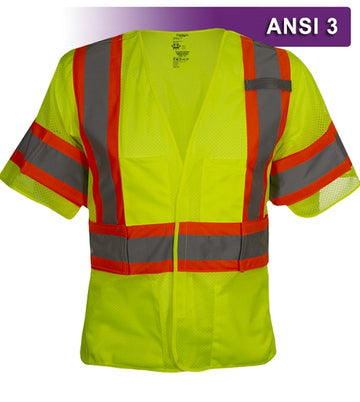 Safety Vest: Hi Vis Vest: 5pt Breakaway Mesh: ANSI 3: Adjustable Side Wraps