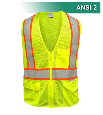 Safety Vest: Hi Vis Vest: 5pt Breakaway: Zip Lime Mesh: Contrasting DOT