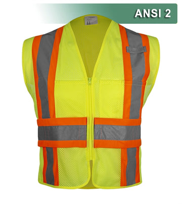 Safety Vest: Hi Vis Mesh: DOT Contrasting Trim: Adj. Side Wraps: ANSI 2