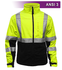 Safety Jacket: Hi Vis Soft Shell: Water Resistant: Form Fitting