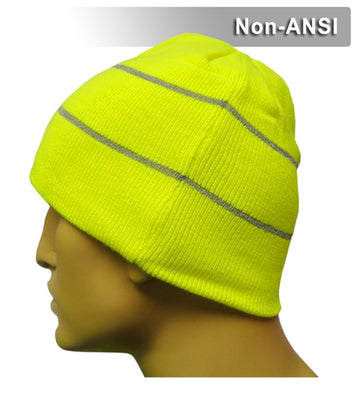Safety Beanie: Hi Vis Knit Cap: Retroreflective Thread