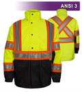 Safety X-Back DOT Jacket: HiVis Parka: Breathable Waterproof Hooded