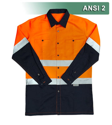 Safety Work Shirt: Hi Vis Button Down: Orange-Navy 2-Tone: ANSI 2