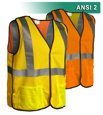 Safety Vest: Hi Vis Vest: Reversible 5-Point Breakaway Mesh: ANSI 2