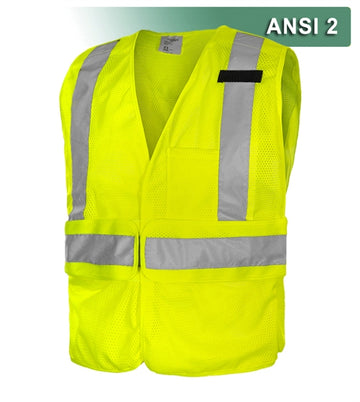 Economy Safety Vest: Hi Vis: Adj. Side Wraps: 5pt Breakaway Mesh: ANSI 2