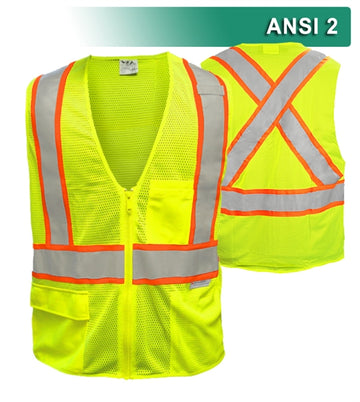 Safety Vest: Hi Vis Vest: 5pt Breakaway: X-Back Zip Lime Mesh: DOT