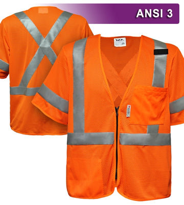 Safety Vest: Hi Vis Orange Vest: X-Back Zip Mesh: ANSI 3
