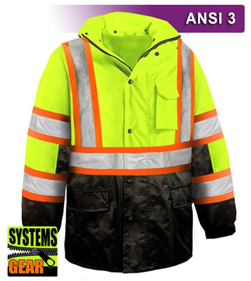 Safety DOT Jacket: HiVis Parka: Breathable Waterproof Hooded