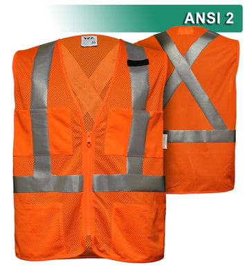 Safety Vest: Hi Vis Orange Vest: X-Back Zip Mesh: ANSI 2