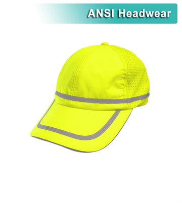 Safety Baseball Hat: Hi Vis Lime or Orange Adjustable Cap: Cotton Sweatband