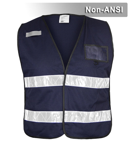 Incident Command Safety Vest: Lightweight Navy Mesh: Prismatic Reflective
