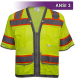 Multi-Pocket Safety Vest: Hi-Vis Lime Mesh Vest: Surveyor: Contrasting Trim