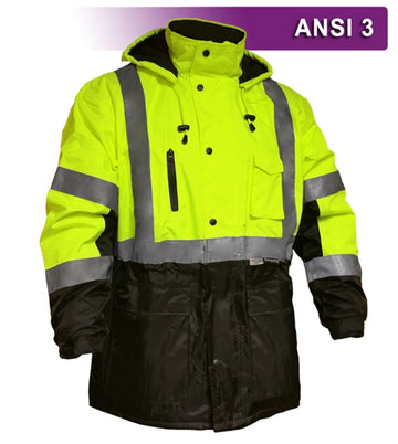 Safety Jacket: Thinsulate™ Parka: Breathable Waterproof Hooded: 2-Tone Lime