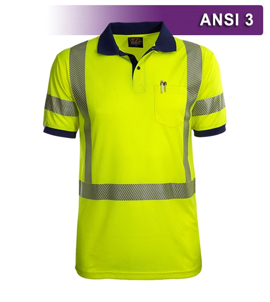 Safety Polo: Hi Vis Polo Shirt: Lime-Navy Birdseye: Comfort Trim by 3M™