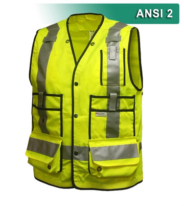 Surveyor Vest: Hi Vis Multi-Pocket Vest: Woven